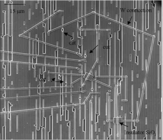 图1显示了前端FIB电路编辑的多个连接和切口。
