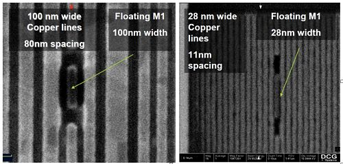 Figure 4 The image on the left shows bit lines on a 90nm process in 2008, while the image on the right shows the bit line for a sub-25nm device today. (photo courtesy of DCG Systems)