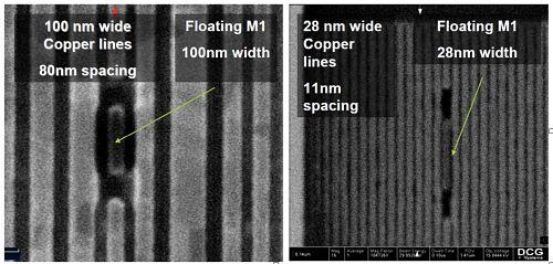 图4左边的图像显示了90中2008nm工艺的位线,而右边的图像显示了今天的子25nm器件的位线。 (照片由DCG Systems提供)