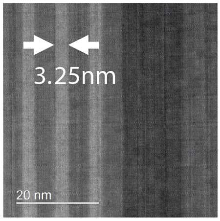 AC-STEM image from an ultrathin layer in an LED device.