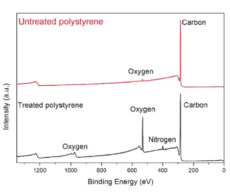 Figure 1 X-ray Photoelectron spectra of untreated and plasma treated polystyrene showing evidence of O and N on the treated film