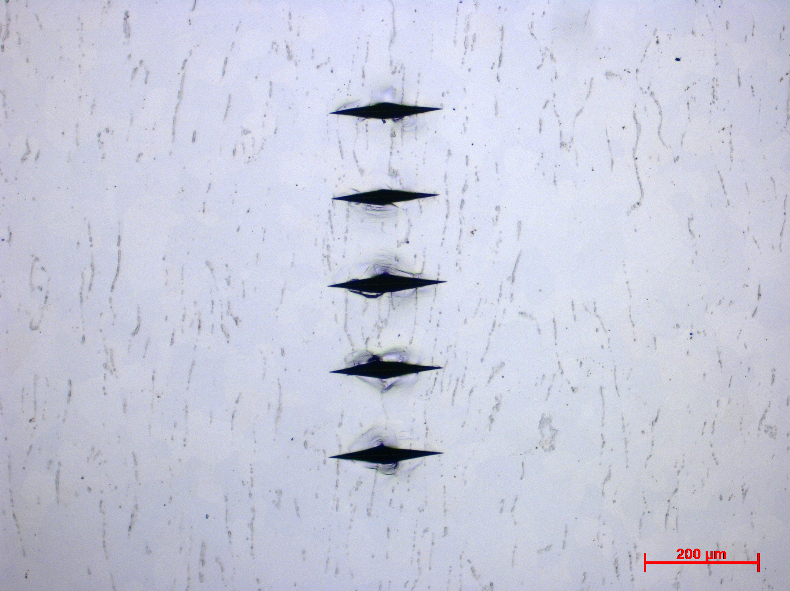 Titanium sample for metallurgical testing, with five knoop microhardness indentations.