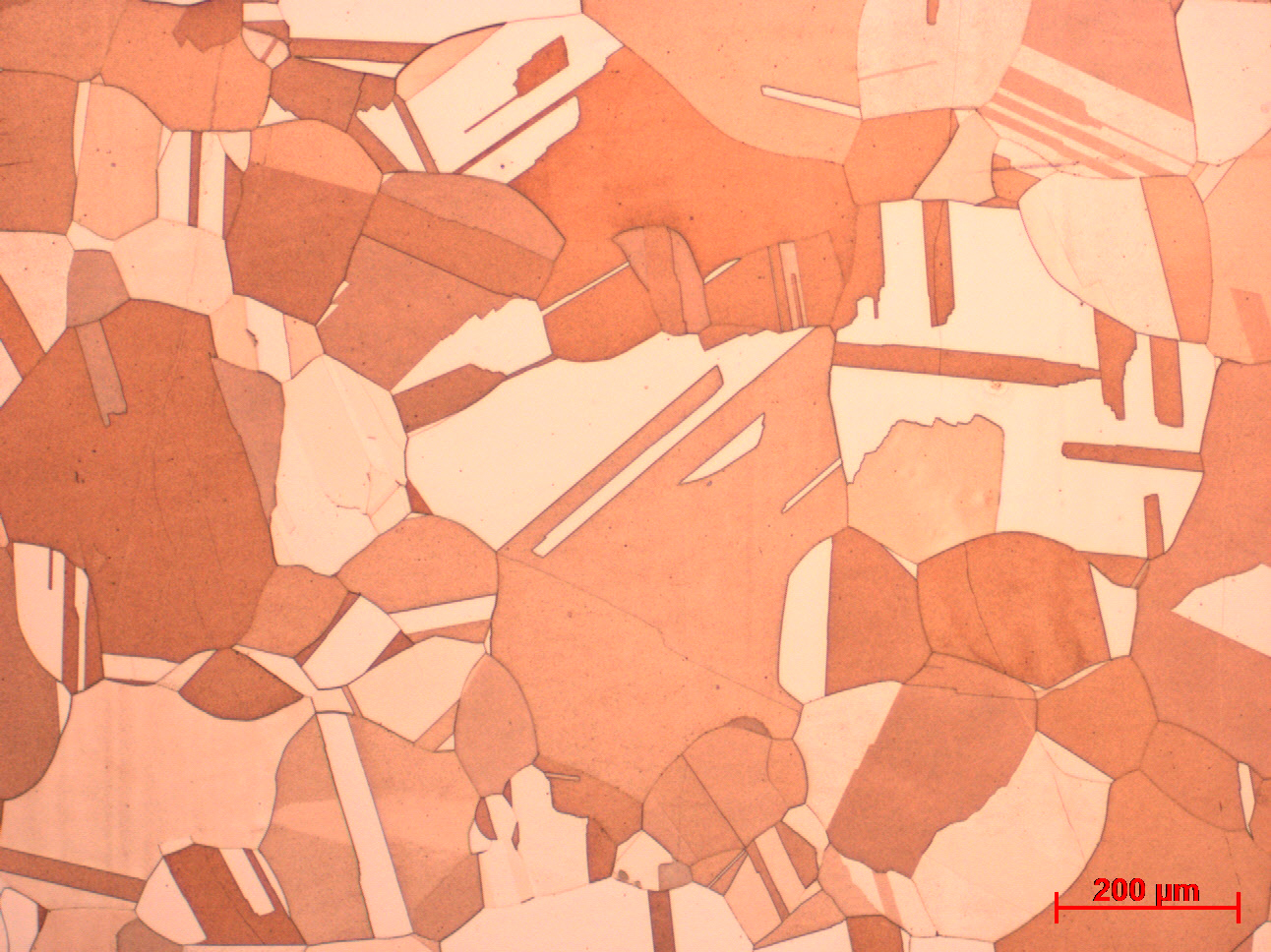 Metallurgical testing image of copper microstructure