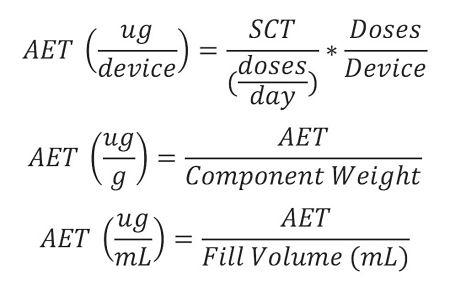 用于将AET转换为多个不同单位的示例等式,