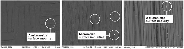 图2:碳纤维增强碳复合材料的SEM图像,PC70(Schunk Carbon Technology),处于COMPO模式(主要是z-对比度)。 亮点(如上面圈出的)是微米尺寸的表面杂质,其密度高于碳的密度。