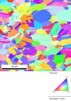 EBSD example: inverse pole figure map