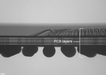 Package Delayering: side view x-ray