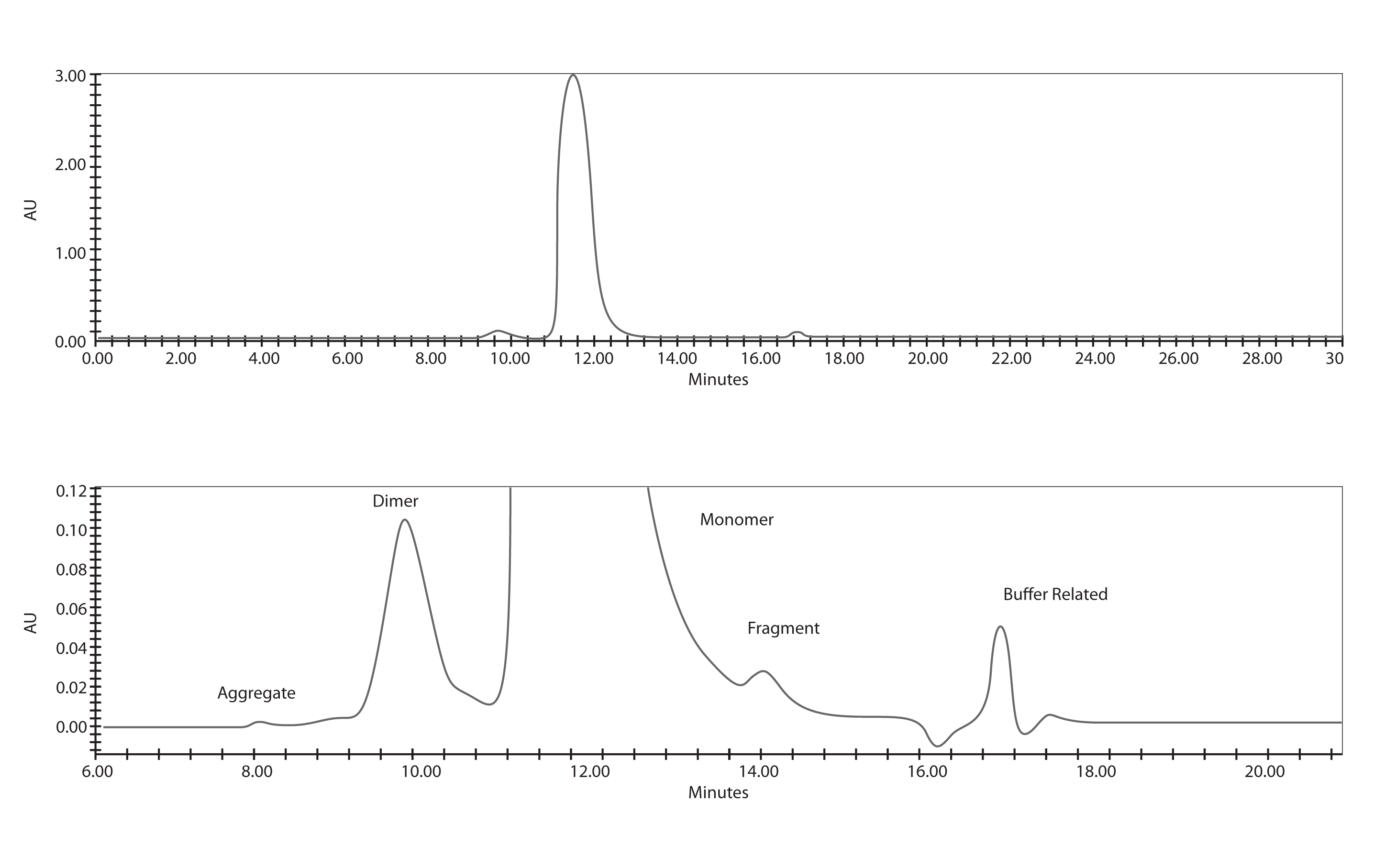 Figure 3. HPLC size exclusion of IgG sample in formulation buffer, 300 μg injected.