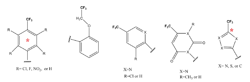Figure 1. An example of chemical structures including a trifluoromethyl group and 14C-test substances (* indicates position of 14C label)