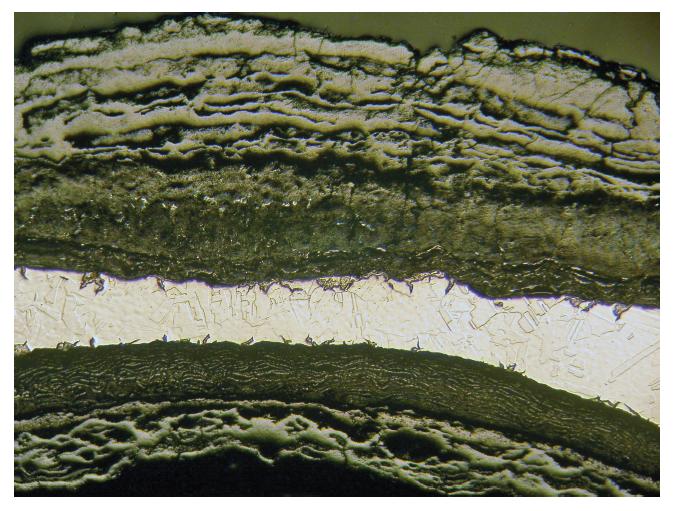 입자 간 공격과 감소 된 두께 16X를 보여주는 부식 된 강관의 광학 현미경 사진.