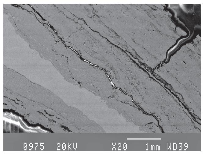 용접 영역에서 얻은 SEM 현미경 사진으로 20X 스케일의 다공성, 균열 및 입자를 보여줍니다.