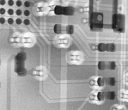 X-ray image PCB vias