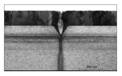 A TEM view of the pit defect shown above reveals v-shaped defects in the quantum well leading to pit formation in p-GaN that extended through the ITO to the surface.