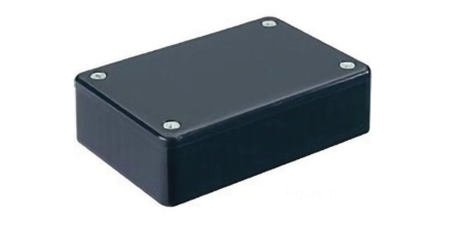 Figure 1. Photo of flame retardant-filled plastic box.